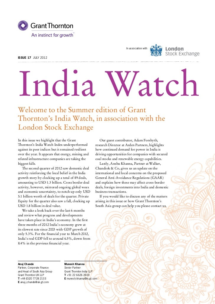 In association withIssue 17 JULY 2012India WatchWelcome to the Summer edition of GrantThornton's India Watch, in associati...