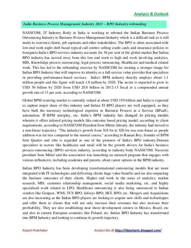 Analysis & Outlook India Business Process Management Industry 2013 – BPO Industry rebranding NASSCOM, IT Industry Body in ...