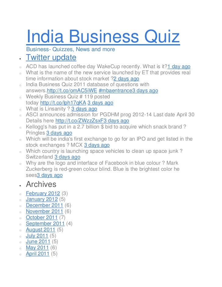 India Business Quiz    Business- Quizzes, News and more    Twitter updateo   ACD has launched coffee day WakeCup recently....