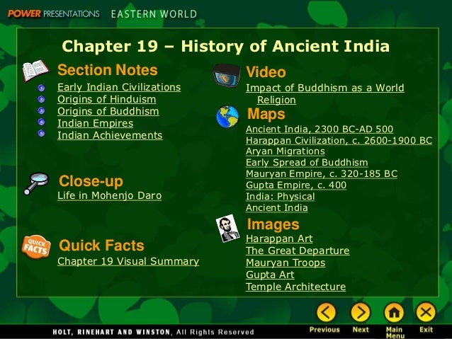 Chapter 19 – History of Ancient IndiaSection Notes                VideoEarly Indian Civilizations   Impact of Buddhism as ...