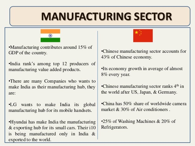 india vs china manufacturing assignment Free essay: fab india company profile • history in 1958, well before american companies were sourcing from india, john bissell left his position as a buyer.