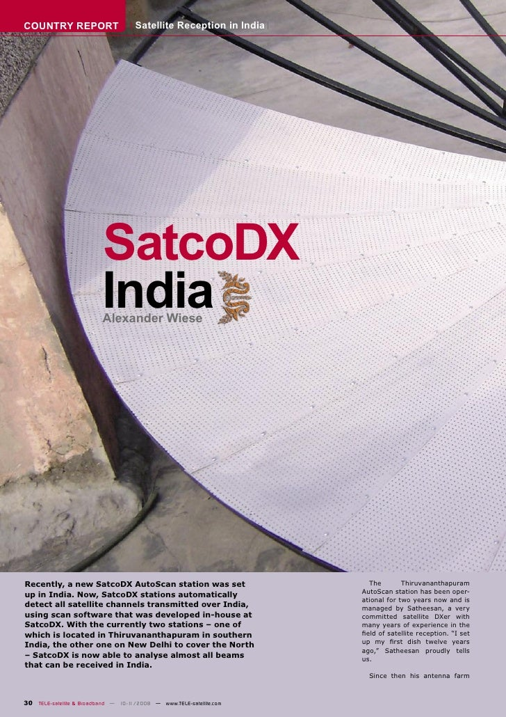 COUNTRY REPORT                       Satellite Reception in India                               SatcoDX                   ...