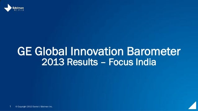 GE Global Innovation Barometer 2013 – India Report