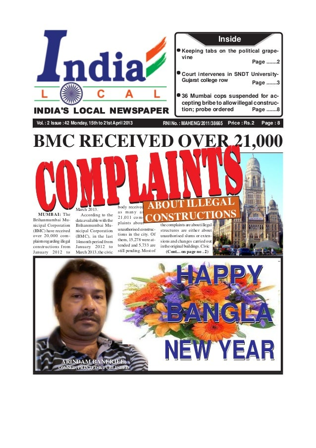 Price : Rs.2 Page : 8RNI No. : MAHENG/2011/38665INDIAS LOCAL NEWSPAPERVol.:2 Issue:42 Monday, 15th to 21stApril 2013Page ....