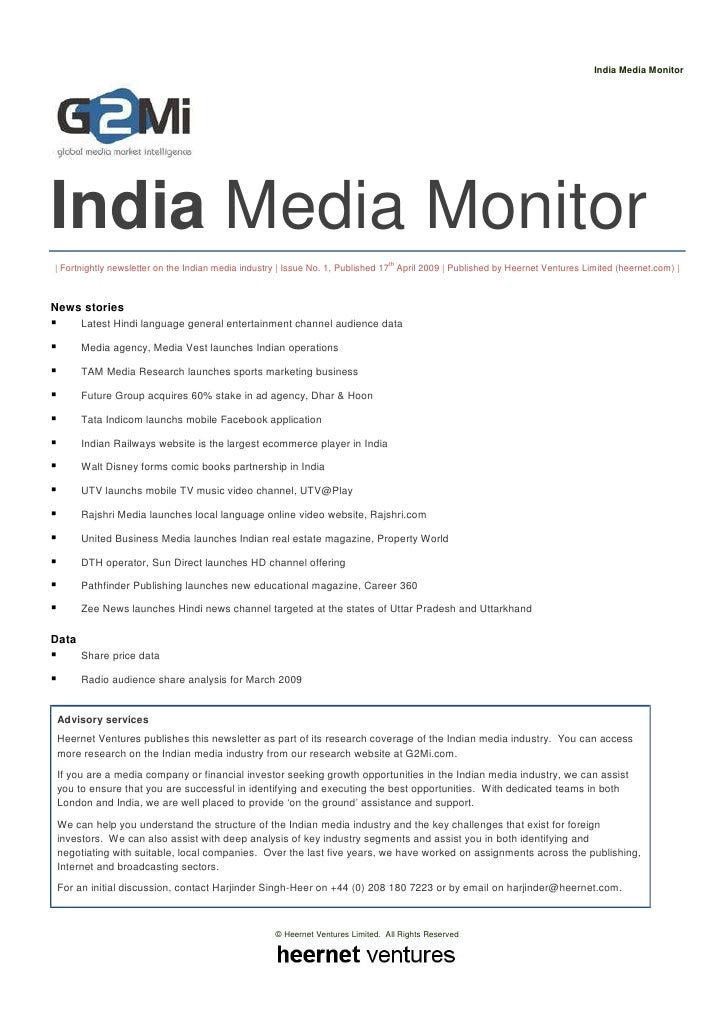 India Media Monitor     India Media Monitor | Fortnightly newsletter on the Indian media industry | Issue No. 1, Published...
