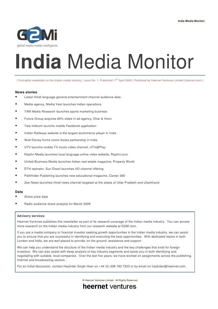 India Media Monitor (Issue 1)