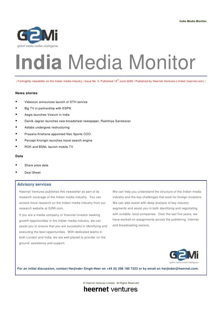 India Media Monitor     India Media Monitor | Fortnightly newsletter on the Indian media industry | Issue No. 5, Published...