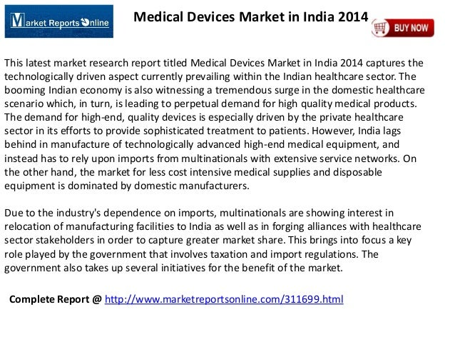 MarketReportsOnline: Medical Devices Market in India 2014