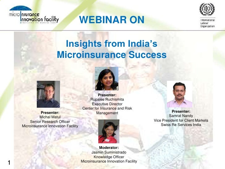 WEBINAR ON                           Insights from India's                         Microinsurance Success                 ...