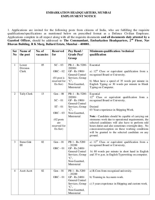 EMBARKATION HEADQUARTERS, MUMBAI                                      EMPLOYMENT NOTICE1. Applications are invited for the...