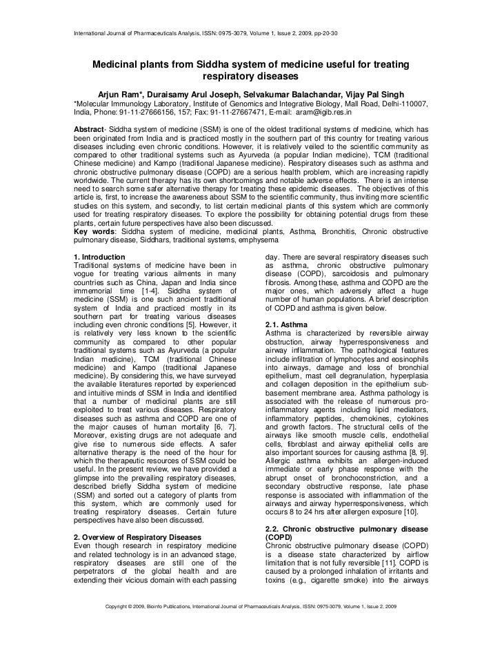 International Journal of Pharmaceuticals Analysis, ISSN: 0975-3079, Volume 1, Issue 2, 2009, pp-20-30       Medicinal plan...