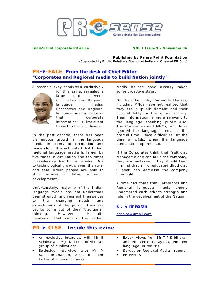 India's first corporate PR ezine                           VOL 1 Issue 9 – November 06                                    ...