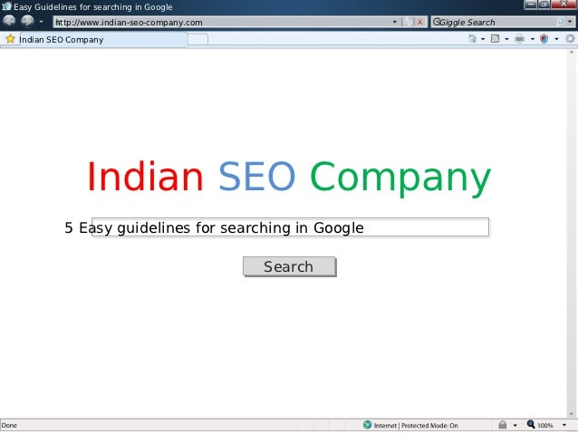 Guidelines For Google search process by Indian SEO Company