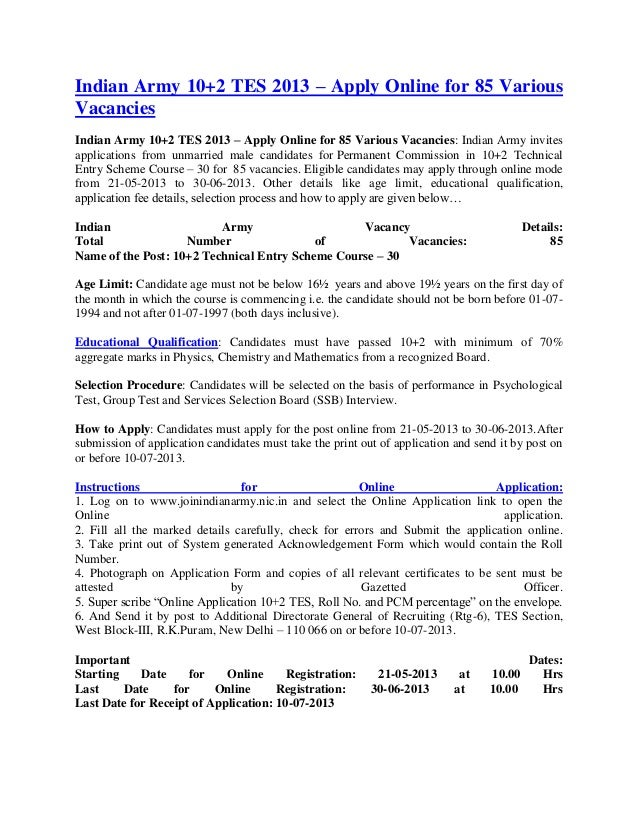 Indian Army 10+2 TES 2013 – Apply Online for 85 VariousVacanciesIndian Army 10+2 TES 2013 – Apply Online for 85 Various Va...