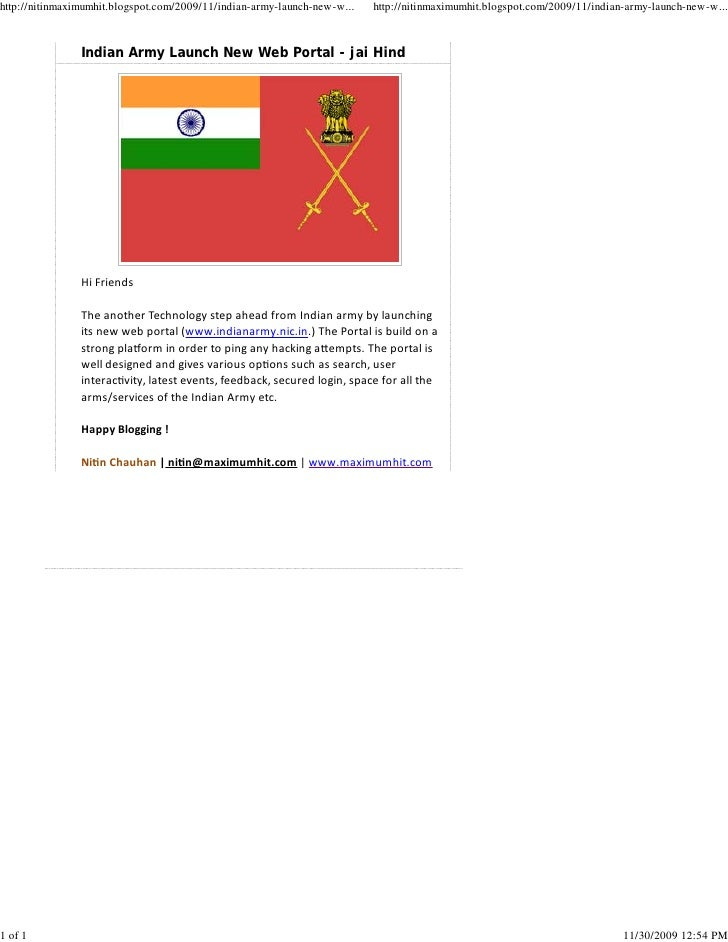 Indian Army Launch New Web Portal   Jai Hind