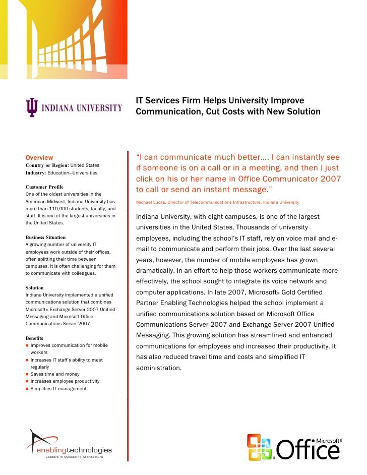 Indiana University - IT Service Firm Helps University Improve Communication, Cut Costs with New Solution