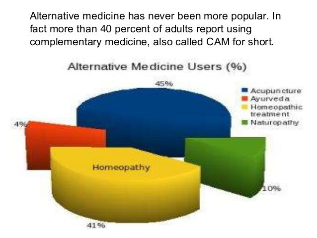 Alternative medicine has never been more popular. In fact more than 40 percent of adults report using complementary medici...