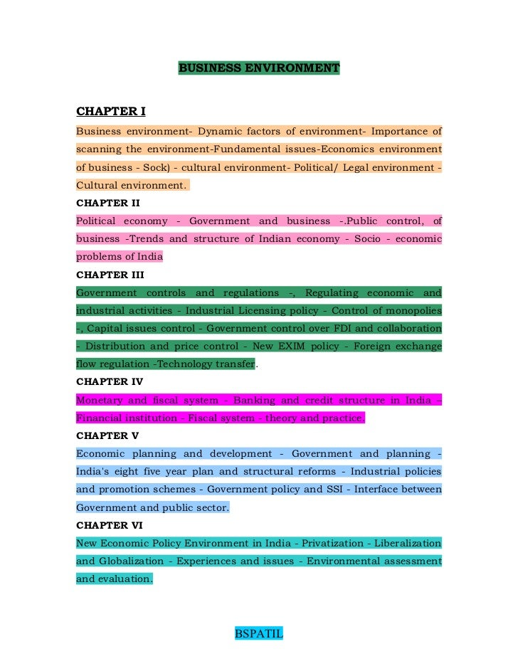 BUSINESS ENVIRONMENTCHAPTER IBusiness environment- Dynamic factors of environment- Importance ofscanning the environment-F...