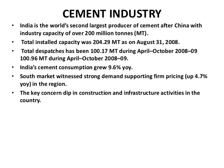 """ratio analysis of cement industry The review of literature guides the """"financial ratio analysis and statistics"""" enlightened that analysis of paper industry in west."""