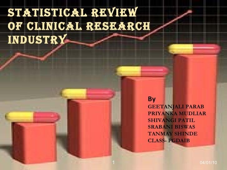 STATISTICAL REVIEW OF CLINICAL RESEARCH INDUSTRY By  GEETANJALI PARAB PRIYANKA MUDLIAR SHIVANGI PATIL SRABANI BISWAS TANMA...