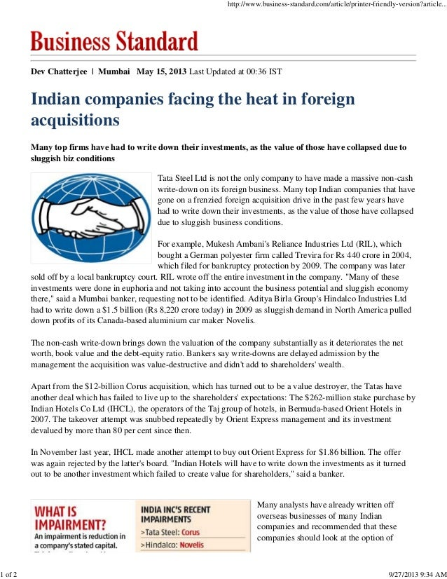 Indian companies facing the heat in foreign acquisitions