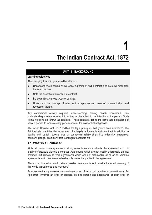 1                                    The Indian Contract Act, 1872                                          UNIT– I : BACK...