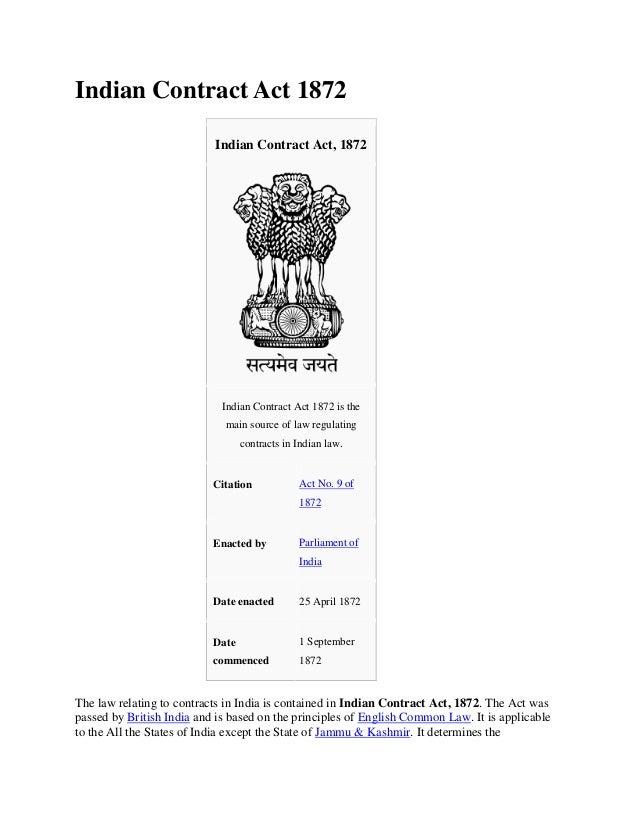 Indian Contract Act 1872                           Indian Contract Act, 1872                             Indian Contract A...