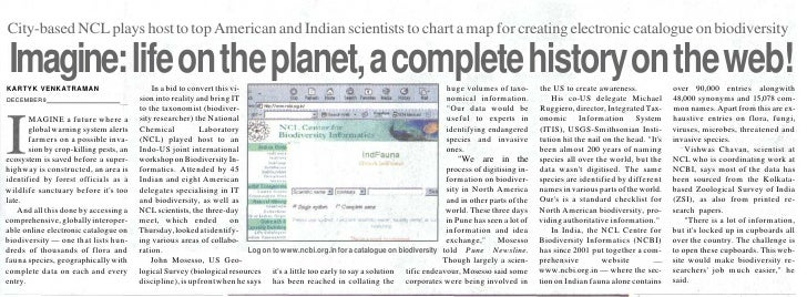 City-based NCL plays host to top American and Indian scientists to chart a map for creating electronic catalogue on biodiv...