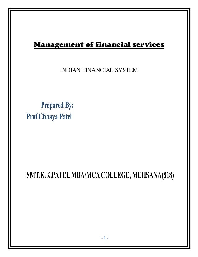 Management of financial services      INDIAN FINANCIAL SYSTEM                  -1-