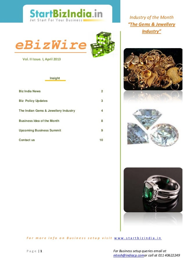 Business Setup in India: Indian Gems and Jewellery Industry: eBizWire by StartBizIndia
