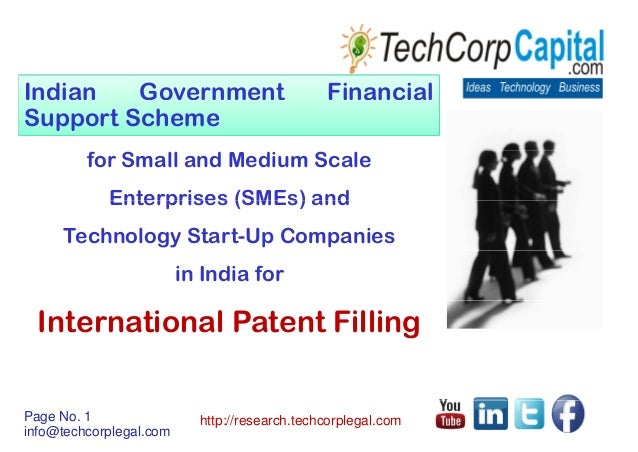Indian government financial support scheme for filing international patents before world intellectual property organization wipo patent applicants including small and medium scale enterprises sm es technology startups companies  india