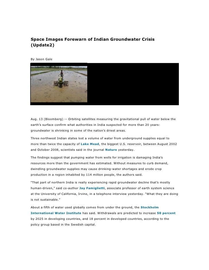 Space Images Forewarn of Indian Groundwater Crisis(Update2)By Jason GaleAug. 13 (Bloomberg) -- Orbiting satellites measuri...