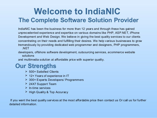Welcome to IndiaNIC The Complete Software Solution Provider IndiaNIC has been the business for more than 12 years and thro...