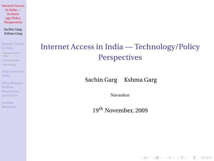 Internet Access in India - Technology/Policy Perspectives