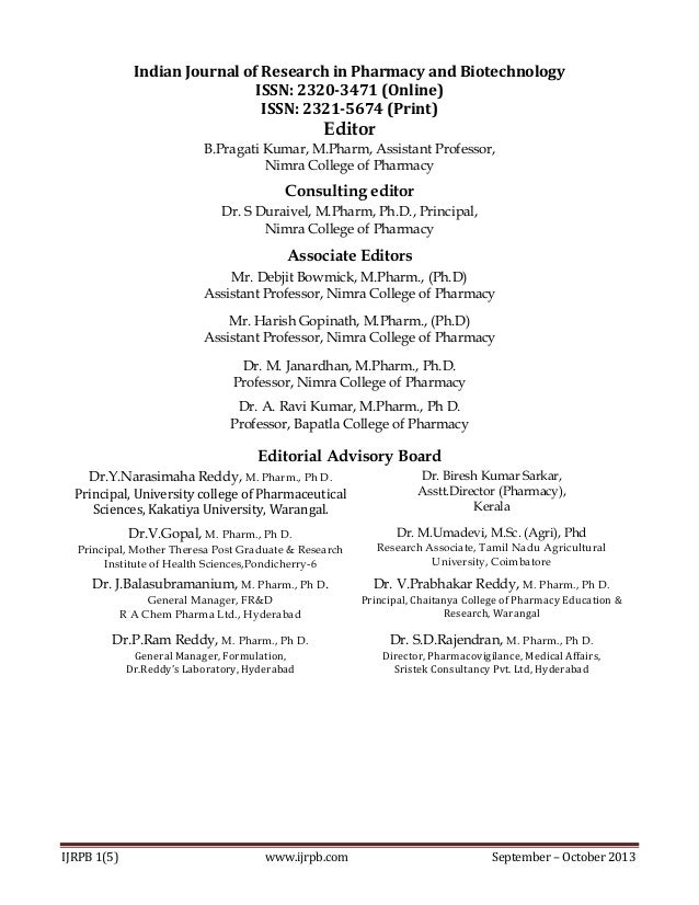 Indian Journal of Research in Pharmacy and Biotechnology ISSN: 2320-3471 (Online) ISSN: 2321-5674 (Print)  Editor B.Pragat...
