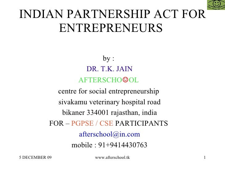 Indian partnership act for entrepreneurs