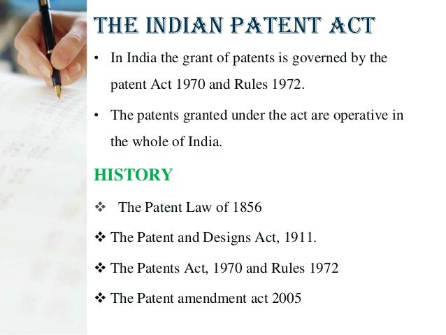 THE INDIAN PATENT ACT
