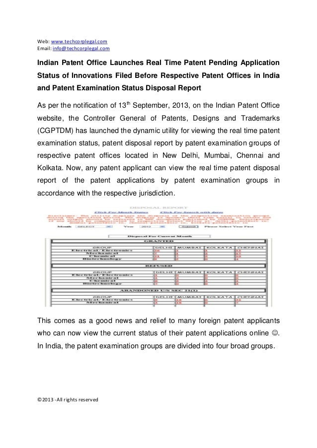 Indian patent office launches real time patent grant status of innovations filed before respective patent offices in india and patent examination status disposal report