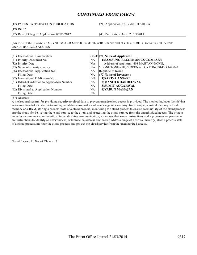 The Patent Office Journal 21/03/2014 9317 CONTINUED FROM PART-1 (12) PATENT APPLICATION PUBLICATION (21) Application No.17...