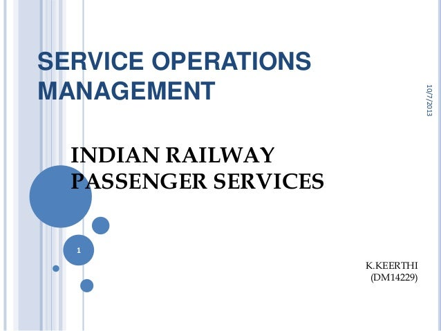 SERVICE OPERATIONS MANAGEMENT INDIAN RAILWAY PASSENGER SERVICES 10/7/2013 1 K.KEERTHI (DM14229)