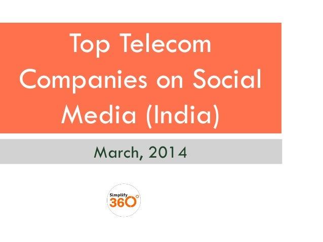 Top Telecom Companies on Social Media (India) March, 2014