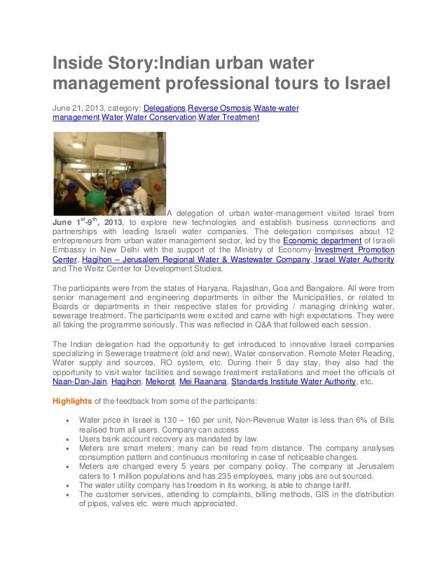 Indian urban water management professional tours to israel....