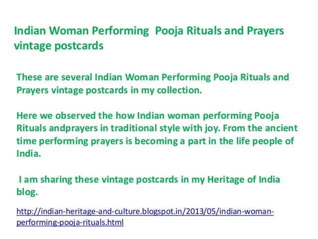 Indian woman performing pooja rituals and prayers vintage postcards