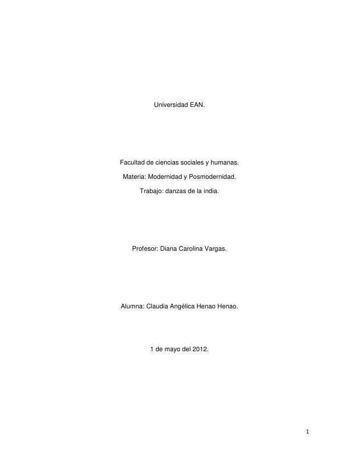 Universidad EAN.Facultad de ciencias sociales y humanas. Materia: Modernidad y Posmodernidad.      Trabajo: danzas de la i...