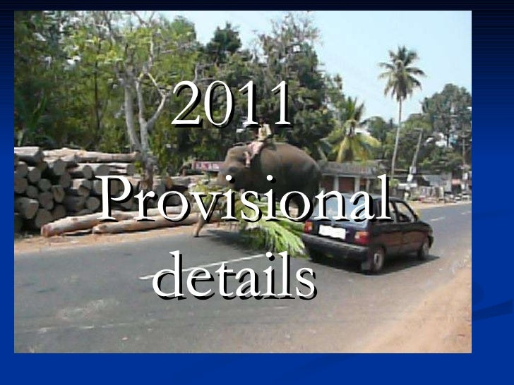 2011  Provisional details