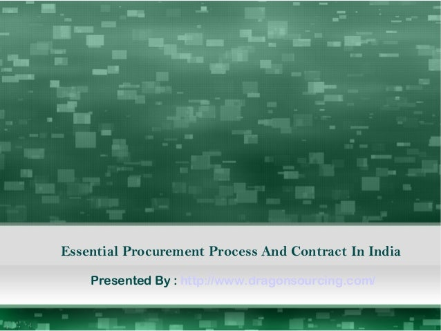 Essential Procurement Process And Contract In India