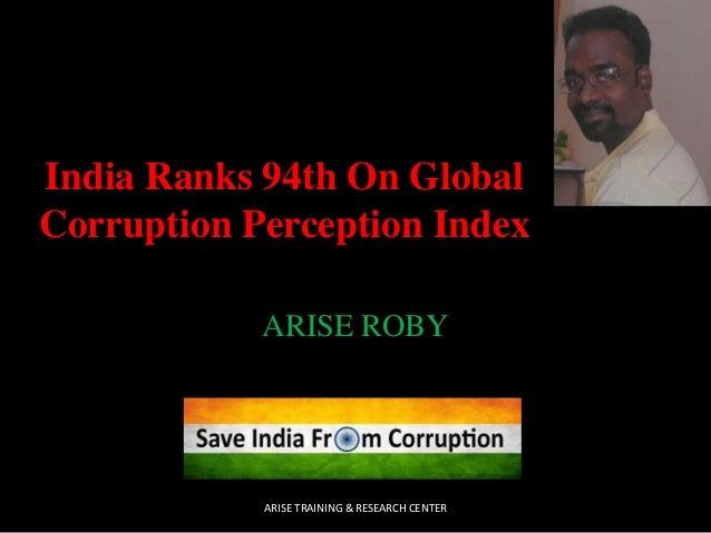 India ranks 94th on global corruption perception index