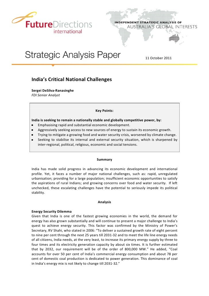 11 October 2011India's Critical National ChallengesSergei DeSilva-RanasingheFDI Senior Analyst                            ...
