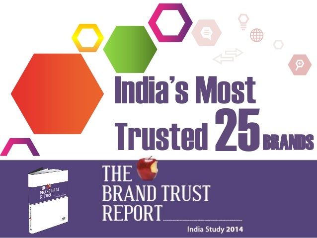 India's Most Trusted 25 BRANDS Source: The Brand Trust Report – India Study 2014, TRA
