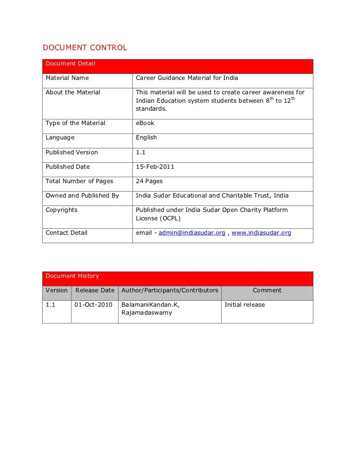 DOCUMENT CONTROLDocument DetailMaterial Name                 Career Guidance Material for IndiaAbout the Material         ...